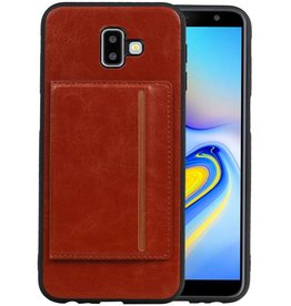 Staand Back Cover 1 Pasjes Galaxy J6 Plus Bruin