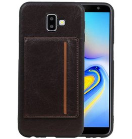 Staand Back Cover 1 Pasjes Galaxy J6 Plus Mocca