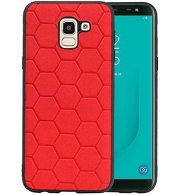 Hexagon Hard Case Samsung Galaxy J6 Rood