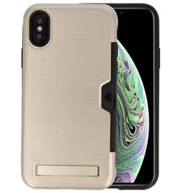 Goud Tough Armor Kaarthouder Stand Hoesje iPhone X / XS