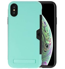 Turquoise Tough Armor Kaarthouder Stand Hoesje iPhone X / XS
