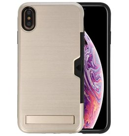 Goud Tough Armor Kaarthouder Stand Hoesje iPhone XS Max