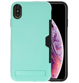 Turquoise Tough Armor Kaarthouder Stand Hoesje iPhone XS Max