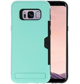 Turquoise Tough Armor Kaarthouder Stand Hoesje Galaxy S8 Plus