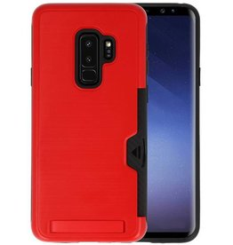 Rood Tough Armor Kaarthouder Stand Hoesje Galaxy S9 Plus