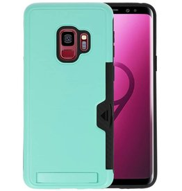 Turquoise Tough Armor Kaarthouder Stand Hoesje Galaxy S9