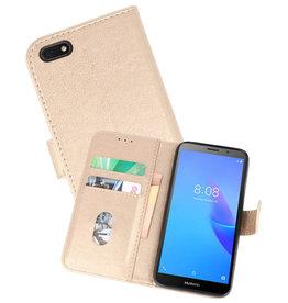 Huawei Y5 Lite 2018 Hoesje Kaarthouder Book Case Telefoonhoesje Goud
