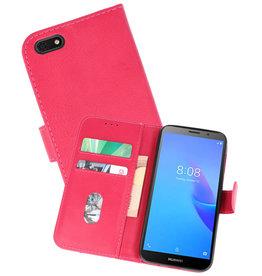 Huawei Y5 Lite 2018 Hoesje Kaarthouder Book Case Telefoonhoesje Roze