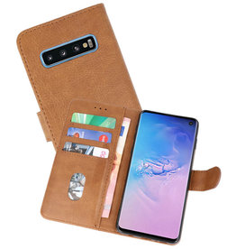 Bookstyle Wallet Cases Hoesje Samsung Galaxy S10 Bruin