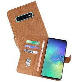 Samsung Galaxy S10 Plus Hoesje Kaarthouder Book Case Telefoonhoesje Bruin