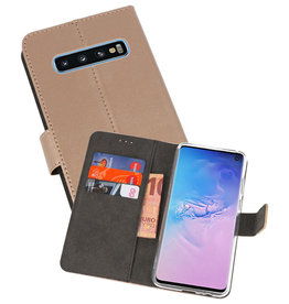 Wallet Cases Hoesje Samsung Galaxy S10 Goud
