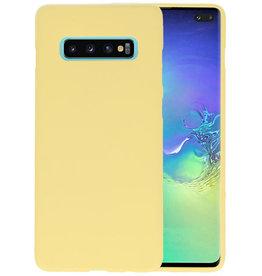 BackCover Hoesje Color Telefoonhoesje Samsung Galaxy S10 Plus - Geel