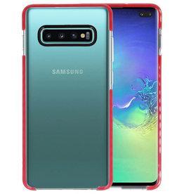 Armor TPU Hoesje Samsung Galaxy S10 Plus Transparant / Rood