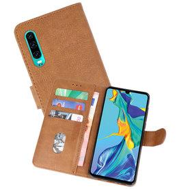 Huawei P30 Hoesje Kaarthouder Book Case Telefoonhoesje Bruin