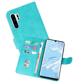 Huawei P30 Pro Hoesje Kaarthouder Book Case Telefoonhoesje Groen
