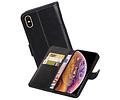 Echt Lederen Hoesje Wallet Case voor iPhone XS Max Zwart