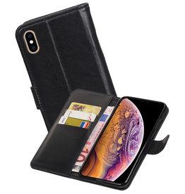Echt Lederen Hoesje Wallet Case iPhone XS Max Zwart