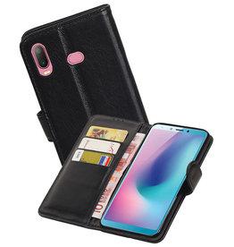 Echt Lederen Hoesje Wallet Case Samsung Galaxy A6s Zwart