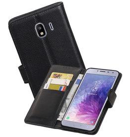 Echt Lederen Hoesje Wallet Case Samsung Galaxy J4 (2018) Zwart