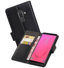 Echt Lederen Hoesje Wallet Case Samsung Galaxy J8 (2018) Zwart