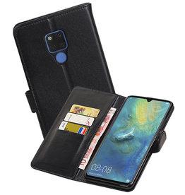 Echt Lederen Hoesje Wallet Case Huawei Mate 20X Zwart