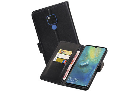 Echt Lederen Hoesje Wallet Case voor Huawei Mate 20X Zwart