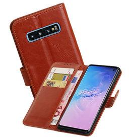 Zakelijke Bookstyle Hoesje Samsung Galaxy S10 Bruin