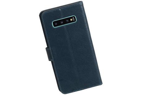 Zakelijke Bookstyle Hoesje voor Samsung Galaxy S10 Plus Blauw