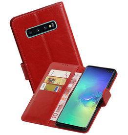 Zakelijke Bookstyle Hoesje Samsung Galaxy S10 Plus Rood