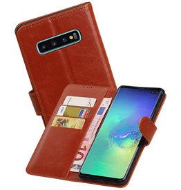 Zakelijke Bookstyle Hoesje Samsung Galaxy S10 Plus Bruin