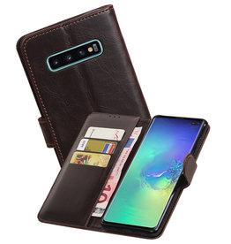 Zakelijke Bookstyle Hoesje Samsung Galaxy S10 Plus Mocca