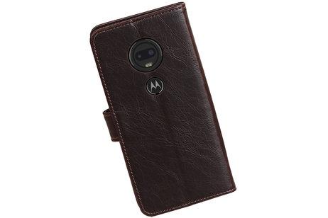 Zakelijke Bookstyle Hoesje voor Motorola Moto G7 Mocca