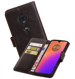 Zakelijke Bookstyle Hoesje Motorola Moto G7 Mocca