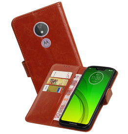 Zakelijke Bookstyle Hoesje Motorola Moto G7 Power Bruin