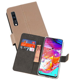 Wallet Cases Hoesje Samsung Galaxy A70 Goud