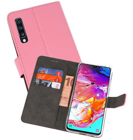 Wallet Cases Hoesje Samsung Galaxy A70 Roze