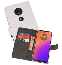 Wallet Cases Hoesje Motorola Moto G7 Wit