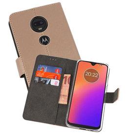 Wallet Cases Hoesje Motorola Moto G7 Goud