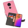 Wallet Cases Hoesje Motorola Moto G7 Roze