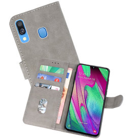 Bookstyle Wallet Cases Hoesje Samsung Galaxy A40 Grijs
