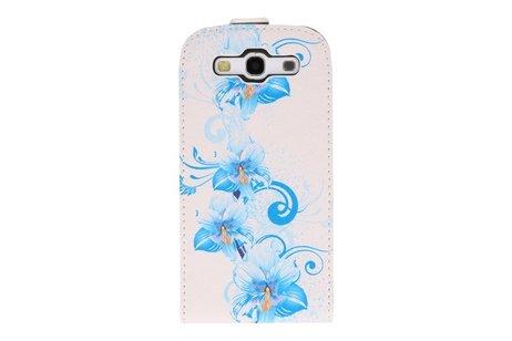 Blauwe Bloem Flip Hoes voor de Samsung Galaxy S3 I9300