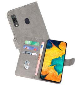 Samsung Galaxy A30 Hoesje Kaarthouder Book Case Telefoonhoesje Grijs