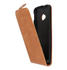 Bruin Lederen Flip Case voor de HTC M7 One
