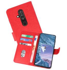 Nokia X71 Hoesje Kaarthouder Book Case Telefoonhoesje Rood