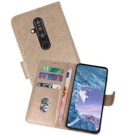 Nokia X71 Hoesje Kaarthouder Book Case Telefoonhoesje Goud