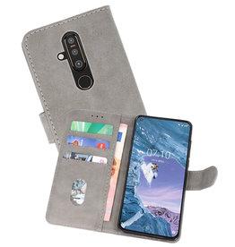Nokia X71 Hoesje Kaarthouder Book Case Telefoonhoesje Grijs