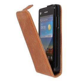 Bruin Lederen Flip Case voor de Huawei Y300