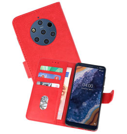 Nokia 9 PureView Hoesje Kaarthouder Book Case Telefoonhoesje Rood