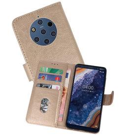 Nokia 9 PureView Hoesje Kaarthouder Book Case Telefoonhoesje Goud