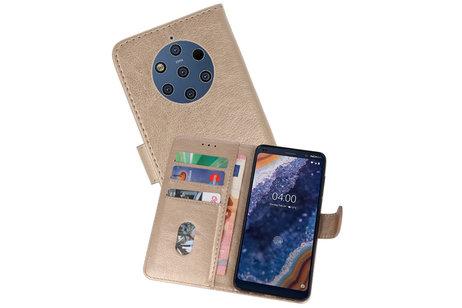 Bookstyle Wallet Cases Hoesje voor Nokia 9 PureView Goud